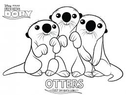 printables cartoon finding dory otters coloring printable