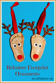 salt dough crafts reindeer footprint ornaments handprint