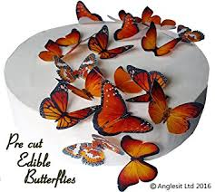 Easter Decorations 2016 Uk by 24 X Pre Cut Beautiful Medium Orange Butterflies Edible Rice