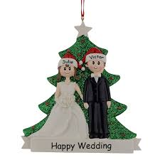 glitter resin engagement tree ornaments wedding
