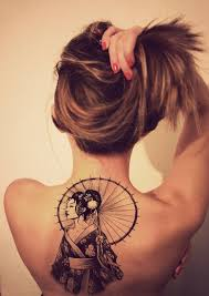 back tattoo design for women geisha with umbrella tattoomagz