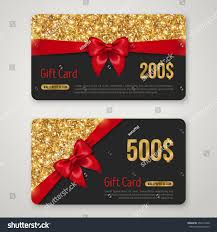 Holiday Gift Card Template Gift Card Design Gold Glitter Texture Stock Vector 353217440