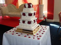classic square gold wedding cake stand hire with our wedding cakes