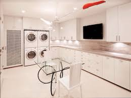 contemporary laundry room with built in bookshelf u0026 drop in sink