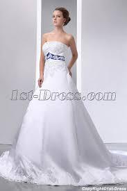 special elegant ivory and royal blue satin a line wedding dress