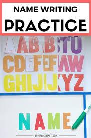 preschool name writing activity love peace beauty