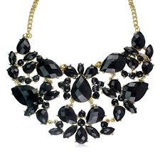 elegant black necklace images Buy vorra fashion elegant goldtone black simulated stone fringe jpg