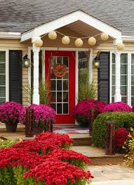 decorations cheery dutch house with red glass front door and