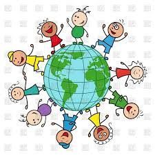 happy children of different nationalities together around the globe