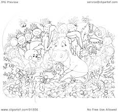 royalty free rf clipart illustration of a black and white pig