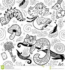 Fairytale Ink Background With Cartoon Characters From Alice In