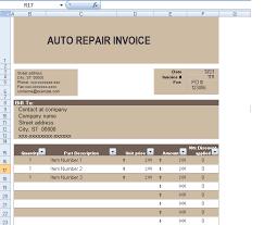 Editable Invoice Template Excel Auto Repair Invoice Template In Excel Format Exceltemple Excel