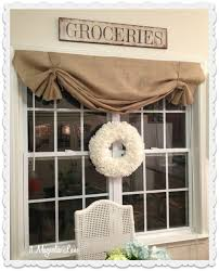 Curtains Kitchen Window by Best 25 Burlap Valance Ideas On Pinterest Burlap Curtains