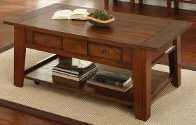 Oak Sofa Table by Desoto Medium Red Oak Cocktail Table With Casters From Steve