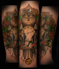 clock tattoo on hand 40 awesome owl clock tattoos