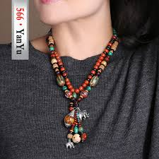 ethnic necklace aliexpress images 566 jewelry quality wood beads ethnic necklaces bodhi silver jpg