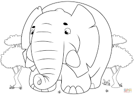 cute cartoon elephant coloring page free printable coloring pages