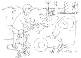 father son fun car wash printable caillou coloring sheet