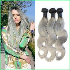 the best sew in human hair brazilian body wave grey hair sew in weaves 7a double weft silvery