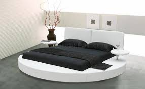 White Bedroom Furniture Sa Choice Of White Or Black Leatherette Round Bed W Side Shelves