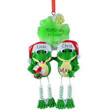 personalized frog couple christmas ornament with dangling legs