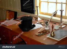 Quill Desk Lamp Old Desk Porkpie Hat Quill Pen Stock Photo 2229134 Shutterstock