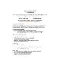 Logistics Job Description Resume by Logistics Coordinator Job Description Sample 9 Examples In Word