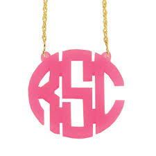 circle monogram necklace acrylic circle monogram necklace available in 21 pretty acrylic