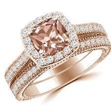 morganite engagement ring gold cushion pink morganite halo engagement ring set 14k gold