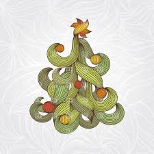 abstract christmas tree made of curly leaves vector clipart image