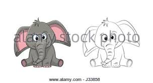an elephant cartoon character outline coloring illustration stock