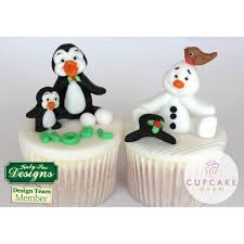 Christmas Cake Decoration Ideas Uk Katy Sue Designs Penguins Sugar Buttons Christmas Mould Tools