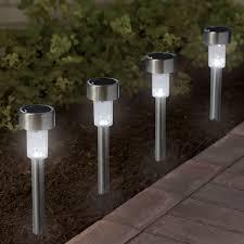 Outdoor Solar Landscape Lights by The Color Changing Solar Walkway Lights Hammacher Schlemmer