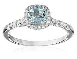 aquamarine engagement rings 14k white gold aquamarine and diamond cushion halo engagement ring