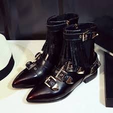 s boots buckle 2016 ombre boots buckle tassel pointy leather boots