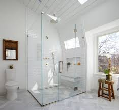 Mirrored Subway Tile Backsplash Bathroom Transitional With by Impressive Subway Tile In Shower With Exposed Brick Wet Rooms