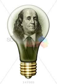 Stock Photo Of Money Light Bulb With Benjamin Franklin