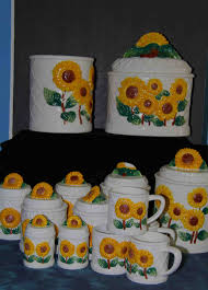 sunflower kitchen canisters sunflower canister set w salt pepper shakers and coffee tea cups