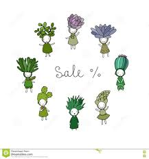 graphic set with cute cartoon succulents stock vector image