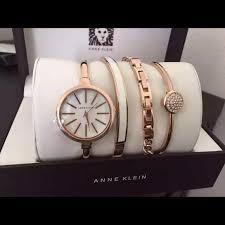 anne klein bracelet set images Anne klein accessories ak rose goldtone bangle watch and jpg