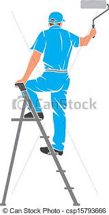 paint man illustration of a man painting the wall painter painting clip