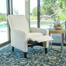 Recliner Chair With Ottoman Reclining Armchair Fabric Contemporary Beige Fabric Recliner Chair