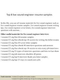 Musicians Resume Samples Download Recording Engineer Sample Resume Haadyaooverbayresort Com