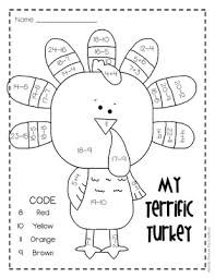 2 digit subtraction w regrouping on a turkey math