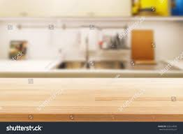 Kitchen Table Close Up Empty Wooden Table Blurred Kitchen Background Stock Photo