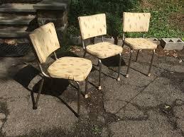three vinyl mid century chrome kitchen chairs attainable vintage