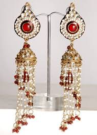 jhumki style earrings indian jhumki style kundan earrings with pearls online shopping