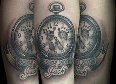 tattoo pictures baby footprints roses pocket watch and baby footprints tattoo