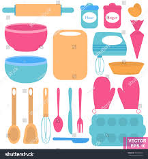 set baking preparation kitchen appliances isolated stock vector