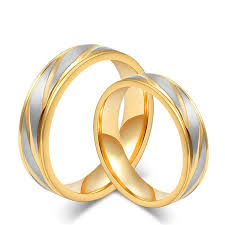 couples rings gold images Couples lovers titanium couples rings a set 2 pcs gold silver jpg
